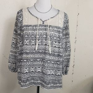 Maurices M Boho blk/white tunic